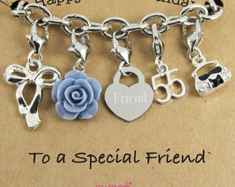 Happy 55th Birthday Rose Lucky Charm Bracelet Gift for Bestie, Sister, Niece, Mam, Special Friend.