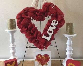 Valentine's Day LOVE Burlap Wreath - Burlap Heart Wreath, Heart Wreath, LOVE Wreath, Valentines Wreath, Red Heart Wreath, Pink Heart Wreath