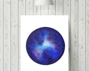 Galaxy Circle Print, Space Print, Nature Art Print, 8x10 Art Print, Circle Art, Modern Artwork