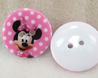 5 pcs Minnie Mouse Buttons, Pink Plastic Button Minnie 23x23mm, for Childrens Clothing, Knitting, Sewing, Crochet, Scrapbooking