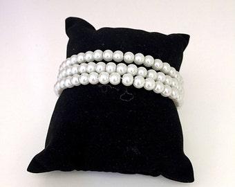 Ivory Faux Pearl Coil Bangle Bracelet