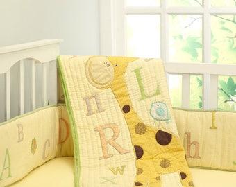 ABCs with Gizzie Alphabet Giraffe Animals Baby Quilt Gender Neutral | Yellow Orange Green Crib Baby Bedding - Free Personalization