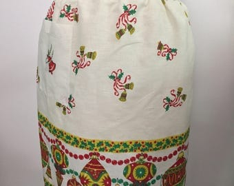 Vintage Christmas Half Apron Red and Green Christmas Ornaments and Bells