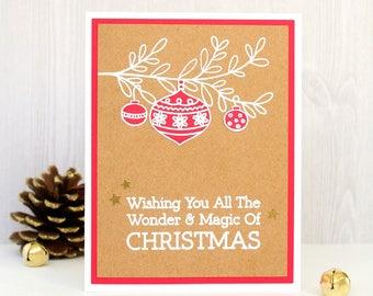 Christmas Card - Handmade Christmas Card - Merry Christmas Card - Holiday Card - Winter Card - Hand stamped Christmas Card - Xmas Card