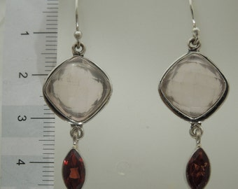 Sterling Silver Rose Quarts With Red Garnet Earrings