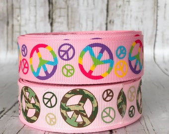 """7/8"""" Tye Dye Peace Pink Green Camaflouge Peace Signs Hippie 70's Mod Girls Baby Hairbow Grosgrain Ribbon  - Sold by 5 Yards"""