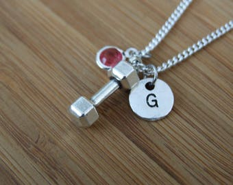 Dumbbell Necklace, Dumbbell Jewelry, Fitness Jewelry, Personalized Necklace, Fitness Gifts, Strength Necklace, Weight Lifting Necklace Gift