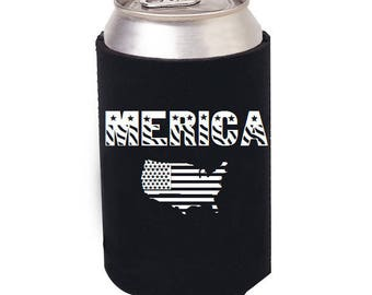 Merica Can cooler, Merica, Merica Beer can cozie, Beer can Cooler, Bottle Coolrt, 4th of July, America, I Love Beer, United States of Beer