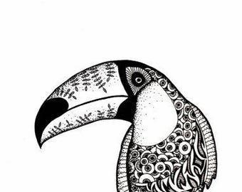 Toucan print, Black&White drawing in ink, Bird art, Animal art, Toucan art, Bird drawing, Zen Art, Abstract Drawing