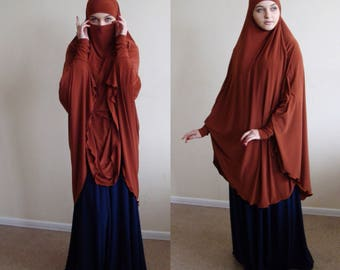 Transformer terracotta Khimar, copper niqab stylish, jersey jilbab, traditional hijab,ready to wear hijab, long hijab, burqa, muslim gift
