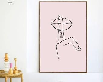 Shhh tattoo Print, Hush Wall Art, Modern Art, Scandinavian Walls, Pink decor, Minimalist Art, Rihanna Lips, Lipsense, Line art, Lipstick