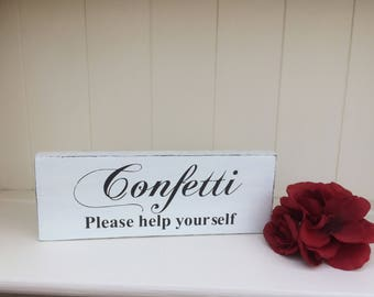 Free Standing Wooden  Shabby Chic Wedding/ Wedding Venue Decoration/Wedding Prop - Confetti Sign