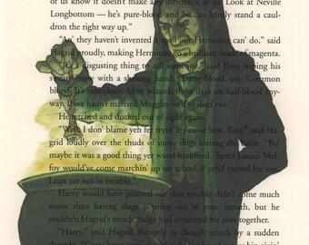 Severus Snape Print, Harry Potter Art, Harry Potter Baby, Harry Potter Decor, Harry Potter Gift, Book Page Art