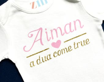 Personalized name a dua come true bodysuit, homecoming take home outfit, custom shirt, nursery, baby girl boy, baby shower birthday gift