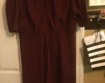 World War 2 Agent Costume - Burgundy Keyhole Dress