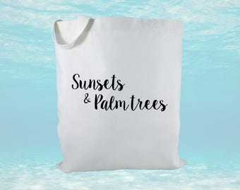 Sunsets And Palm Trees Canvas Tote Bag, Beach Bag, Women's Bag, Destination Wedding, Tropical Gift Bag, Destination Wedding