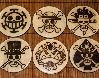 One Piece wood and resin coaster set (x6)