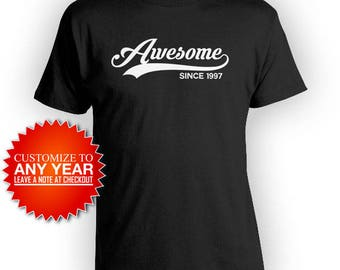 21st Birthday Shirt Bday Gift Ideas For Him Personalized T Shirt Custom TShirt Present For Her Awesome Since 1997 Mens Ladies Tee - BG414