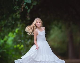 White Lace Junior Bridesmaid Dress, Boho Country Flower Girl Dresses, Girl Toddler Maxi Dress, First Communion Dress, Baptism Dress