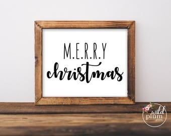 Merry Christmas Printable- Instant Download