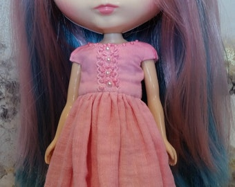 Blythe Dress –Bright Pink - OOAK - Hand Dyed – Boho/vintage/shabby chic inspired.