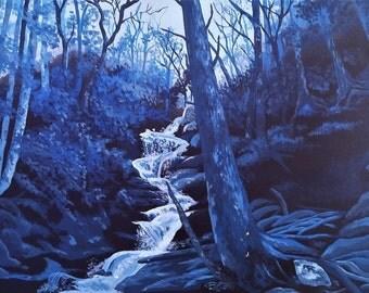 16inx20in Original Forest Waterfall, Winter's hidden treasure