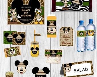 Mickey Safari Party, Mickey Mouse Birthday Party, Mickey Mouse Safari, Mickey Mouse Party Decoration, Mickey Invitation, Mickey