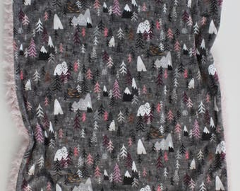 Charcoal, pink and white woodland minky large lovey, print blanket, minky baby blanket, baby blanket, minky blanket, large lovery, faux fur