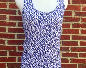Blue Dot Watercolor Tank Top - Handmade Navy and Blue Watercolor Dot Tank Top Shirt - Abstract Print Made to Order Blue Tank Top