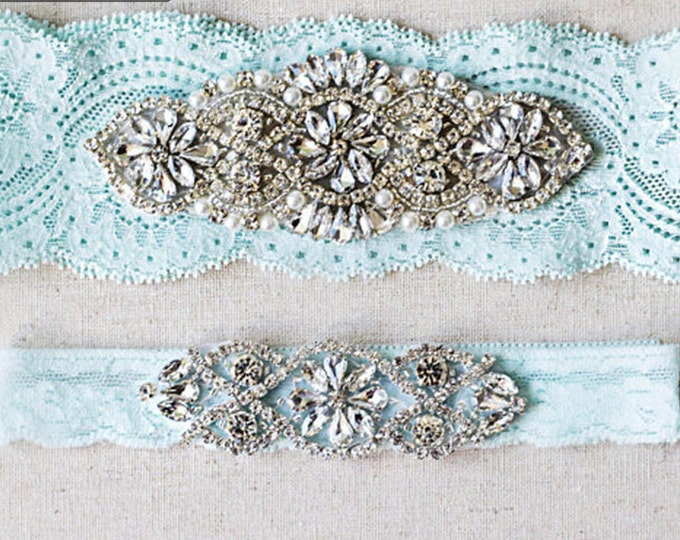 Wedding Garter Set, lace wedding garters rhinestones pearl lace rhinestone