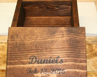 Unique Personalized Hand Made Wooden Anniversary Box / Wedding Box / Jewelry Box / Keepsake Box  ELWW0012