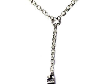 Delicate textured rectangle Y necklace