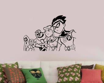 Teen Titans Wall Sticker DC Comics Superheroes Vinyl Decal Cartoon Movie Art Decorations for Home Boys Kids Room Comic Book Decor tt2