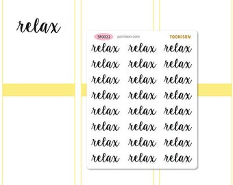 relax Word Planner Stickers Erin Condren Kikki K Filofax Happy Planner Travelers Notebook Midori SF0022