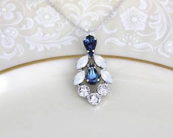 Crystal Bridal necklace, Navy blue necklace, Bridal jewelry, White opal necklace, Bridesmaid necklace, Opal crystal, Swarovski necklace