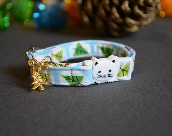 cat collar kitten collar 'Winter Forest' - breakaway cat collar - luxury cat kitten collar with bell  kitten gift