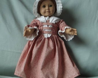 Beautiful Colonial Day Dress with Cap and Fichu for American Girls Dolls Felicity and Elizabeth or Other Similarly Proportioned 18 in. Dolls