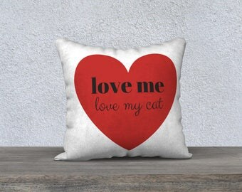 Love Me My Cat Heart Pillow Case, Free Shipping, Made in Canada by KarenMakes
