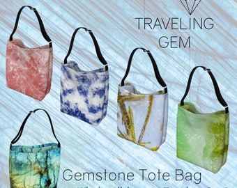 Gemstone Printed Cross-body Tote Bag with Adjustable Strap, Printed Rock Crystal Purse, Rockhound & Gem Lover gift, Mineral science bag