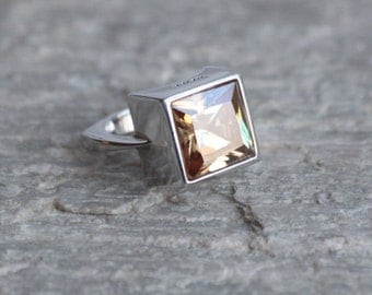 Citrine CZ  Ring, Sterling Silver Ring, Square cut Ring, Italian Fashion Jewelry
