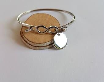 Silver Infinity cuff bracelet, initial bracelet,Name bracelet,Infinity bracelet,Wire Metal Cuff Bracelets,infinity bangle,initial bangle