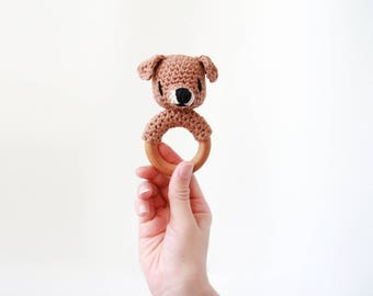 Crochet Brown Dog Rattle Wooden Teether – baby toy, handmade to order