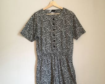 Button down romper, 90s, jumpsuit, floral romper, pockets, M, *vintage*