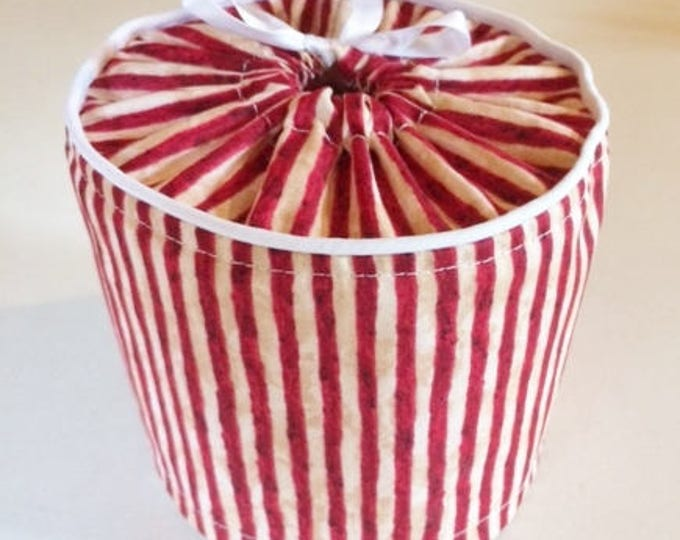 Bathroom Decor, Toilet Paper Cover in red stripes,