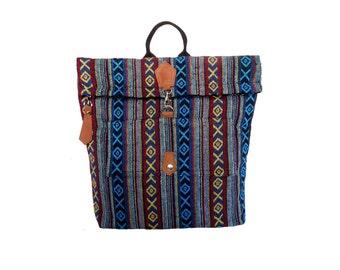 Blue xoxo ethnic backpack/fold backpack/Thai backpack/Rucksack/Tribal backpack/Tribal Rucksack /Thai backpack/Boho backpack/Hippie backpack