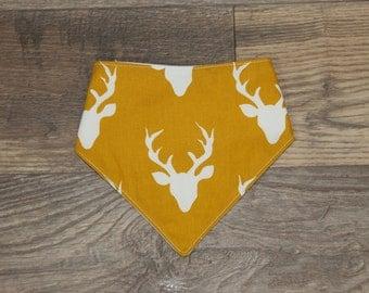 Bandana Bib | Antlers | Deer | Bibdana | Teething | Baby | Drool Bib | Kenton Creations | Mustard Yellow | Gold | Handmade in Canada