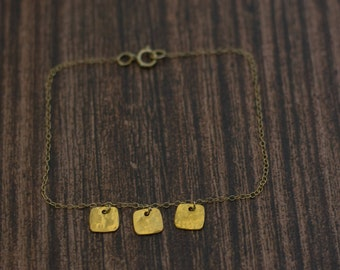 Bracelet Handmade jewelry  24K gold  plated Squares