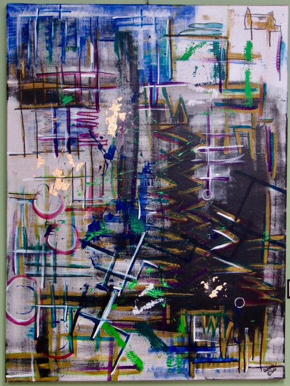 """XLarge Abstract Painting """"Untitled Graffiti"""""""