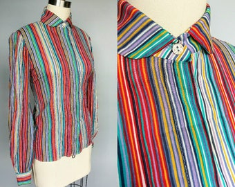 vivid / saks fifth avenue rainbow stripe collared long sleeve blouse / 8 - 10 s m