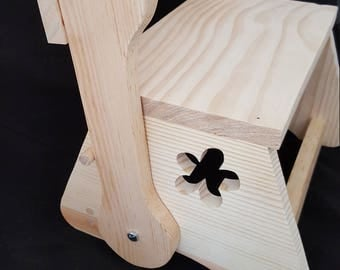 Kids flip chair and step stool with flower cut out from pine wood